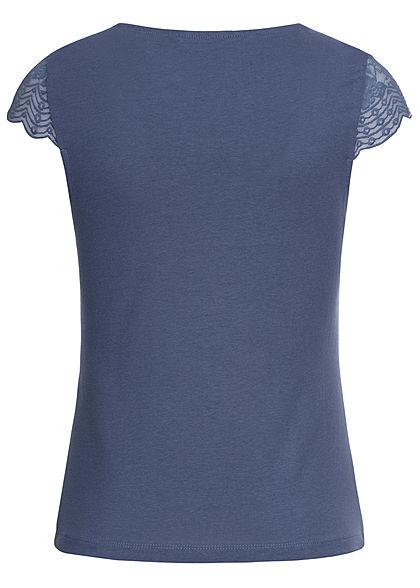 ONLY Damen V-Neck T-Shirt mit Spitze vintage indigo blau
