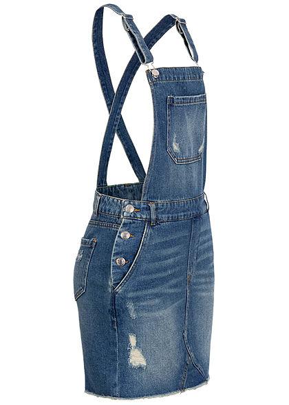 ONLY Damen Mini Jeans Kleid 5-Pockets Destroy Look dunkel blau denim