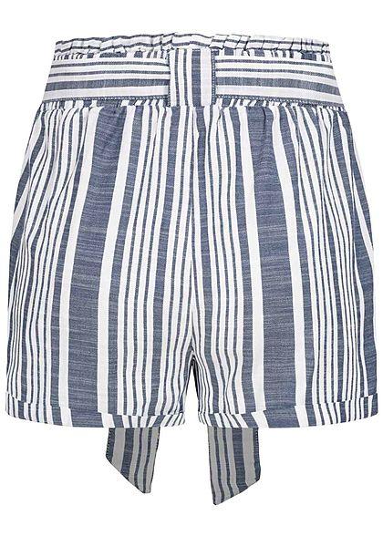 ONLY Damen Paperbag Shorts Streifen Muster 2-Pockets inkl Bindegürtel blau weiss