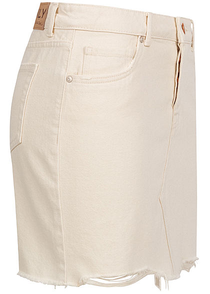 ONLY Damen Jeans Rock Destroy Look Fransen 5-Pockets ecru beige
