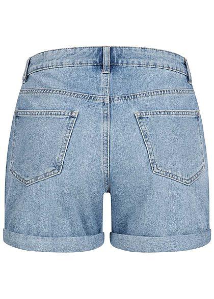 ONLY Damen NOOS Jeans Shorts 5-Pockets Beinumschlag hell blau denim