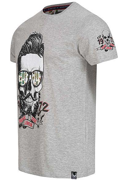 Brave Soul Herren T-Shirt Totenkopf Kaktus Print marl hell grau