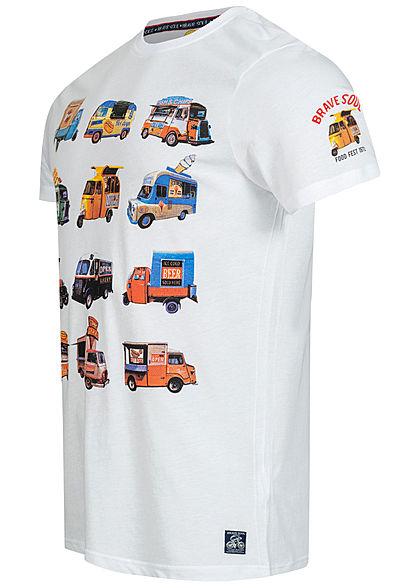 Brave Soul Herren T-Shirt Foodtruck Hamburger Print weiss