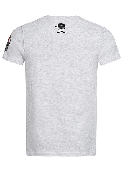 Brave Soul Herren T-Shirt Affen Print ecru marl grau melange