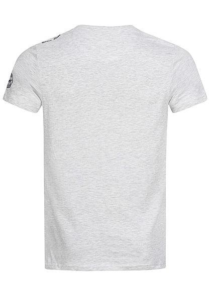 Brave Soul Herren T-Shirt Havana Print ecru marl grau melange
