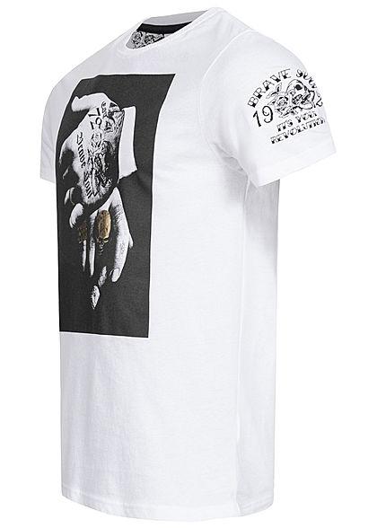 Brave Soul Herren T-Shirt Tattoo Hand Print optic weiss gold schwarz