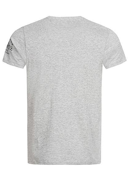 Brave Soul Herren T-Shirt Tattoo Hand Print marl hell grau gold schwarz
