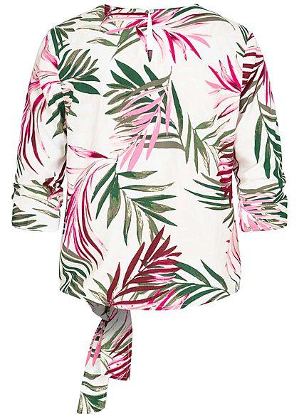 ONLY Damen 3/4-Arm Shirt Tropical Print seitlich zum knoten cloud dancer weiss