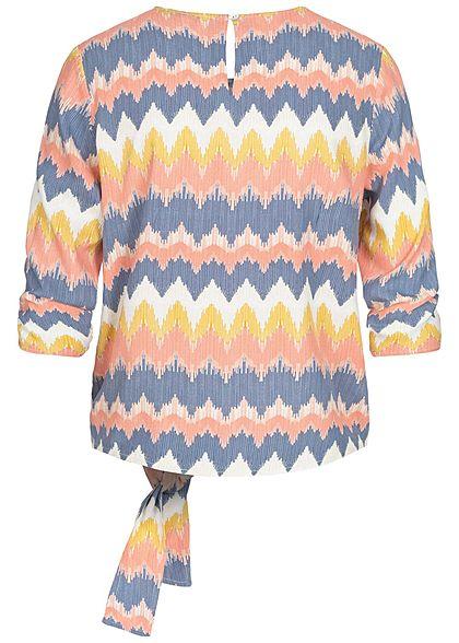 ONLY Damen 3/4-Arm Shirt Zick Zack Muster seitlich zum knoten multicolor weiss
