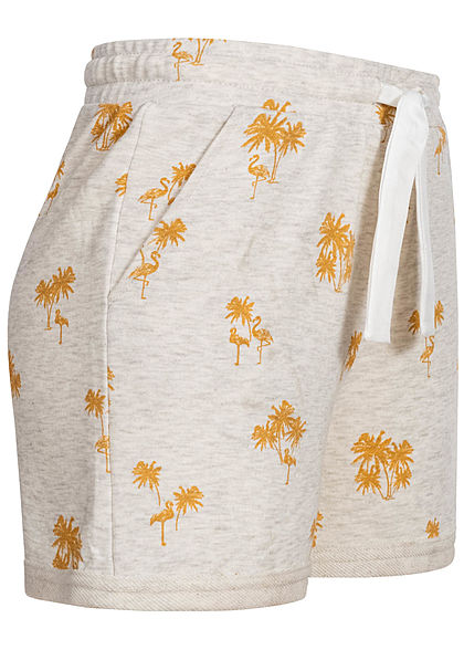 ONLY Damen Shorts Stoffhose Tropical Print oatmeal golden spice melange grau gelb