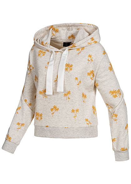 ONLY Damen Hoodie Tropical Print oatmeal golden spice melange grau gelb