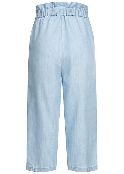ONLY Damen Paperbag 7/8 Culotte Stoffhose 2-Pockets light denim hell blau