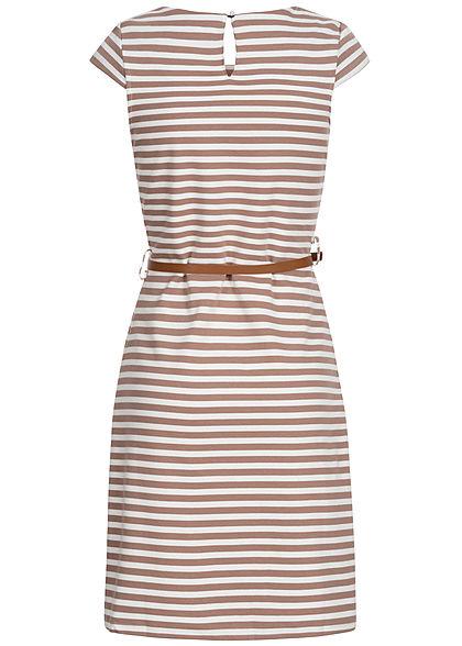 Zabaione Damen T-Shirt Kleid Streifen Muster inkl. Gürtel braun weiss