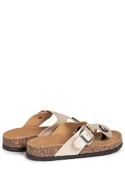 Seventyseven Lifestyle Damen Schuh Sandale Zehensteg gold