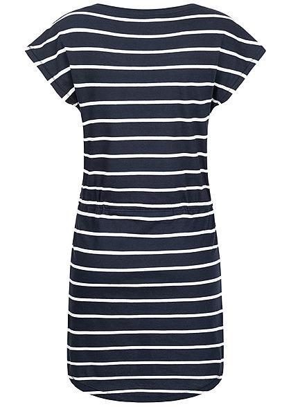 ONLY Damen NOOS T-Shirt Kleid Streifen Muster Tunnelzug night sky blau weiss
