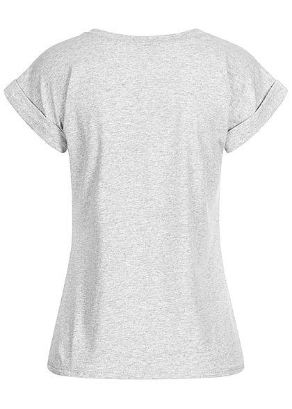 Fresh Tee Damen T-Shirt Hunde Print hell grau schwarz