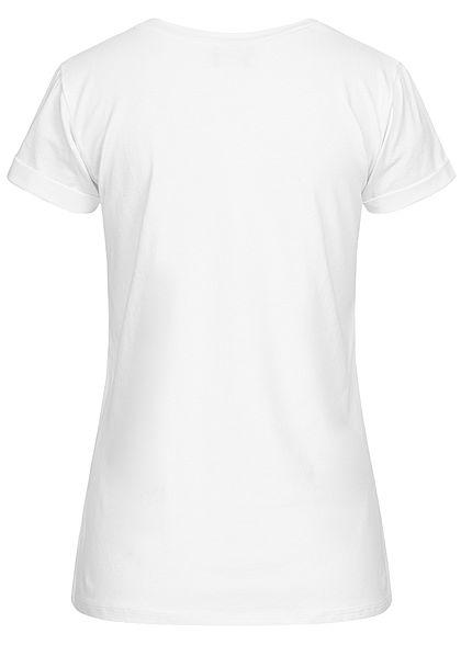 Fresh Tee Damen T-Shirt Meow Print weiss schwarz