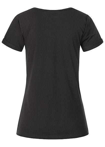 Fresh Tee Damen T-Shirt Katzen Print schwarz