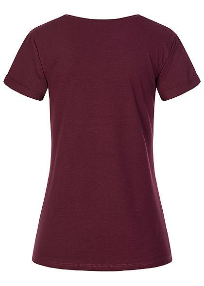 Fresh Tee Damen T-Shirt Katzen Print wine rot bordeaux