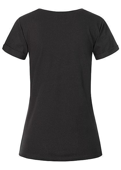 Fresh Tee Damen T-Shirt Bandana Katzen Print schwarz