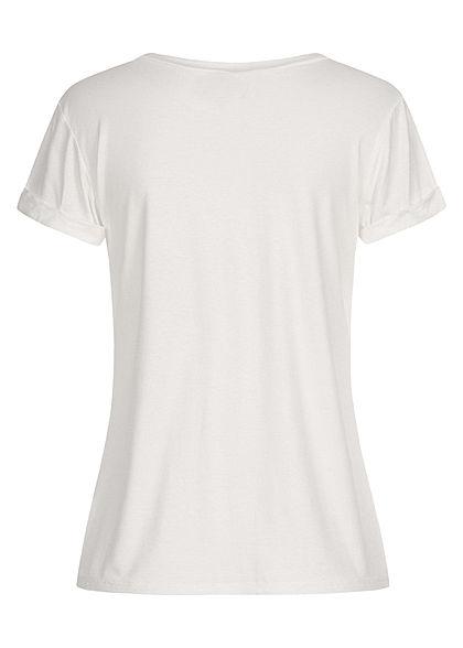 Fresh Tee Damen T-Shirt Mermaid off Duty Print weiss rot