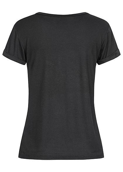 Fresh Tee Damen T-Shirt Herz Love Print schwarz rot