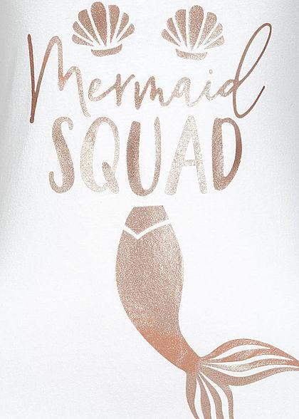 Fresh Tee Damen Tank Top Mermaid Squad Print weiss