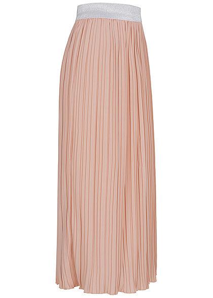 Styleboom Fashion Damen Midi High-Waist Faltenrock Glitzer Gummibund rosa