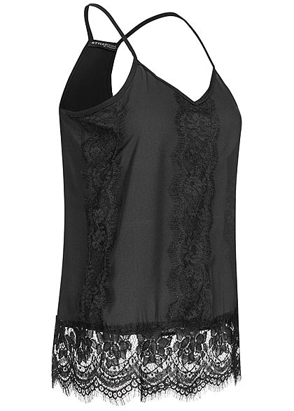 Styleboom Fashion Damen Chiffon Spitzen Top schwarz
