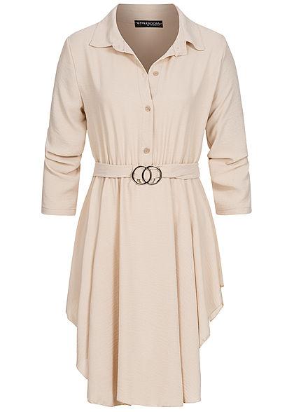 Styleboom Fashion Damen Turn-Up Kleid Knopfleiste inkl. Bindegürtel beige