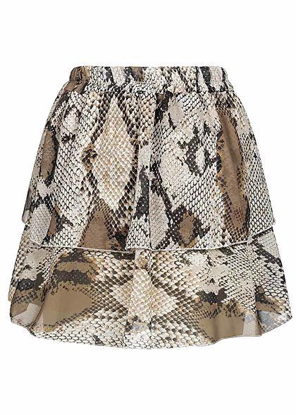 Styleboom Fashion Damen Mini Plissee Stufenrock Snake Print beige braun