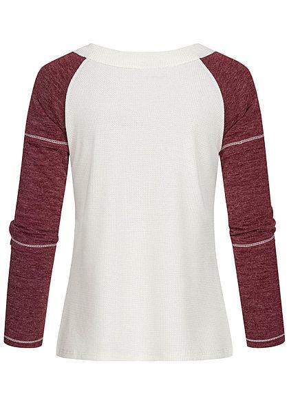 Styleboom Fashion Damen 2-Tone Struktur Longsleeve Schnürausschnitt weiss rot