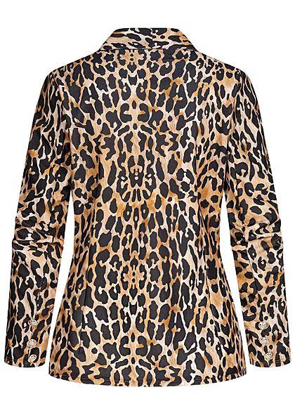 Styleboom Fashion Damen Cardigan Leo Print Deko Knöpfe offener Schnitt camel braun