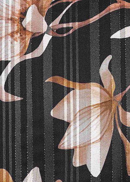 Styleboom Fashion Damen Chiffon Kleid Lurex Streifen Blumen Muster schwarz rosa