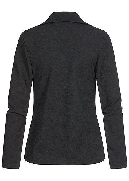 Styleboom Fashion Damen Blazer 2 Deko Taschen offener Schnitt schwarz