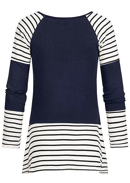 Styleboom Fashion Damen V-Neck Tunika Longsleeve Streifen Muster navy blau