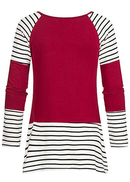 Styleboom Fashion Damen V-Neck Tunika Longsleeve Streifen Muster bordeaux rot