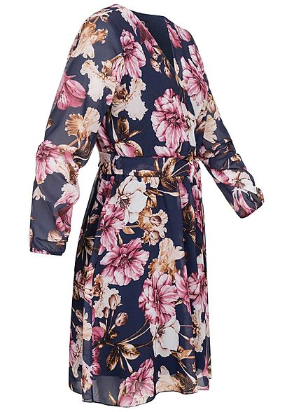 Styleboom Fashion Damen V-Neck Chiffon Kleid Blumen Muster Bindegürtel navy blau
