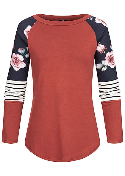 Styleboom Fashion Damen Colorblock Longsleeve Streifen & Blumen Print indian rot