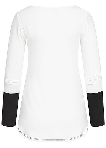 Styleboom Fashion Damen Colorblock Longsleeve Streifen Muster weiss schwarz