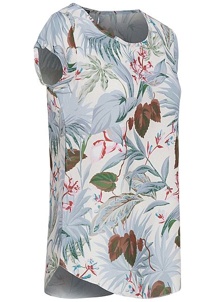 Styleboom Fashion Damen Blusen Shirt Floraler Print weiss multicolor