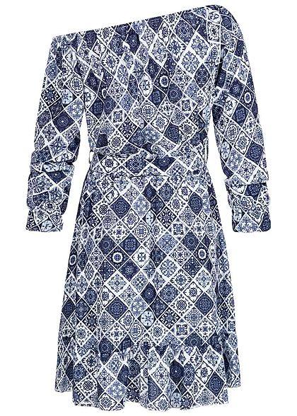 Styleboom Fashion Damen One-Shoulder Mini Kleid inkl. Bindegürtel navy blau weiss
