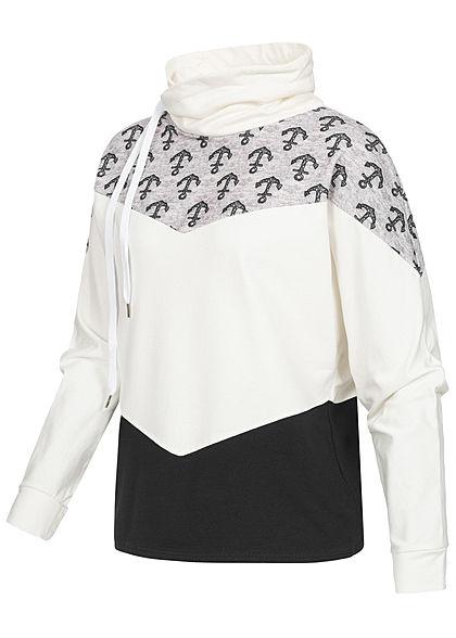Styleboom Fashion Damen Arrow Colorblock Pullover Anker Print weiss schwarz grau