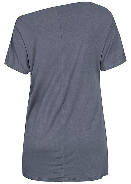 Styleboom Fashion Damen Oversized One-Shoulder Shirt dunkel grau blau