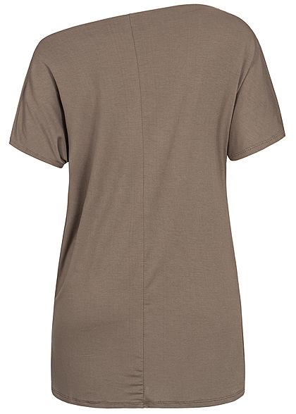 Styleboom Fashion Damen Oversized One-Shoulder Shirt fango braun