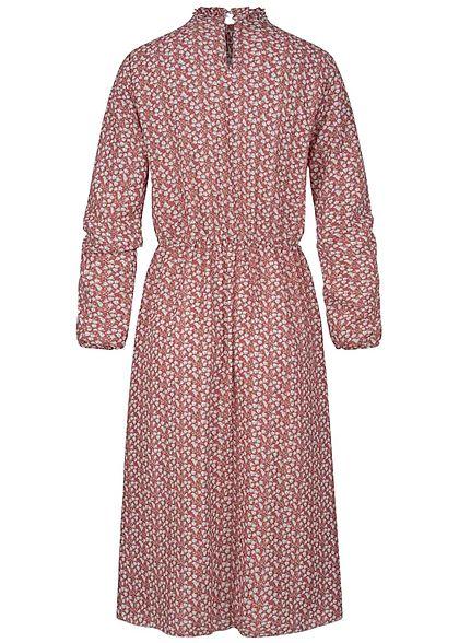 Styleboom Fashion Damen Choker Chiffon Midi Kleid Blumen Print rot