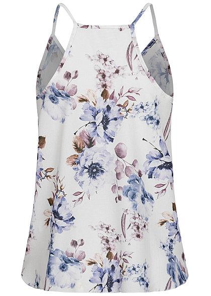 Styleboom Fashion Damen V-Neck Chiffon Top Wickel- Optik Blumen Print weiss blau