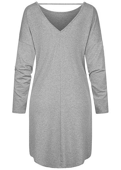 Styleboom Fashion Damen Oversized Kleid tiefer Rückenausschnitt grau melange