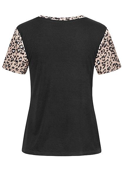 Styleboom Fashion Damen Colorblock T-Shirt Knoten vorn Leo Print braun weiss schwarz