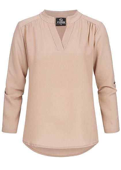 Styleboom Fashion Damen V-Neck Turn-Up Bluse Vokuhila beige